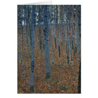 Cartão Gustavo Klimt - bosque da faia. Animais selvagens