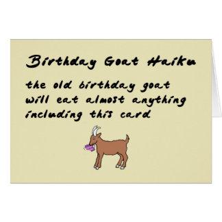Cartão Haicais da cabra do aniversário - um poema
