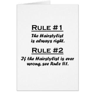 Cartão Hairstylist da regra
