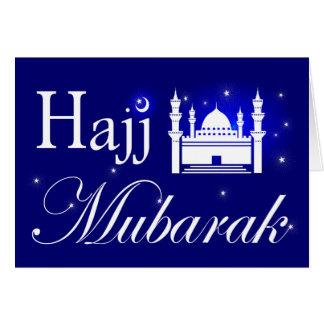 Cartão Haj Mubarak, parabéns na peregrinação do Haj