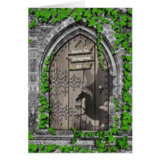 Cartão Haja rei Arthur Medieval Dragão Porta dos dragões