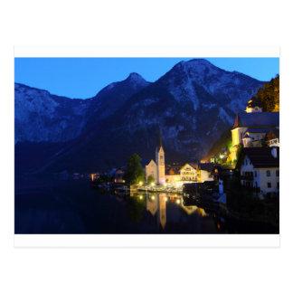 Cartão - Hallstatt na noite, Áustria