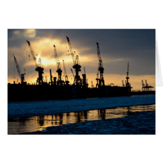 Cartão Hamburger porto pôr do sol - Hamburgo