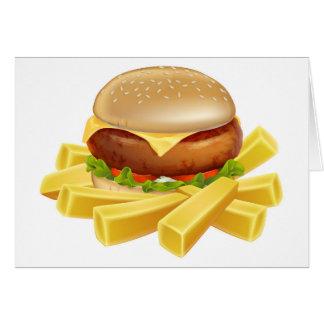 Cartão Hamburguer e microplaquetas ou batatas fritas
