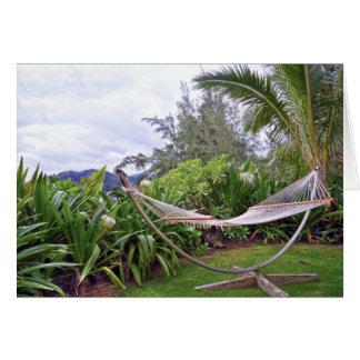 """Cartão """"Hammock havaiano, baía de Wainiha, Kauai, Havaí"""