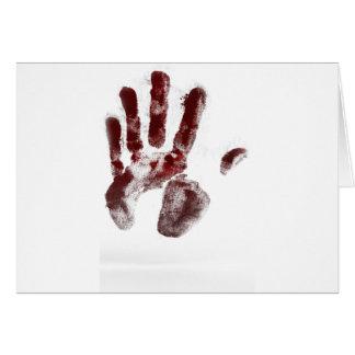 Cartão Handprint do sangue do assassino em série