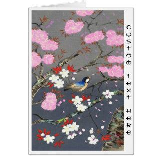 Cartão Hanga da canela do bluebird das flores de