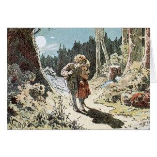 Cartão Hansel e Gretel no trajeto no luar