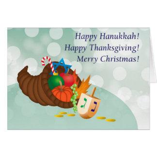Cartão Hanukkah feliz, acção de graças, Natal!