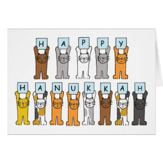 Cartão Hanukkah feliz para amantes do gato