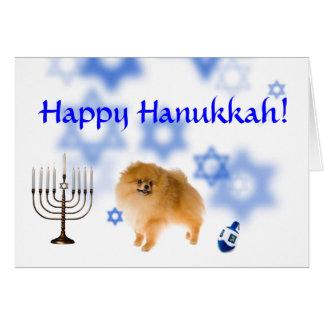 Cartão Hanukkah feliz pomeranian