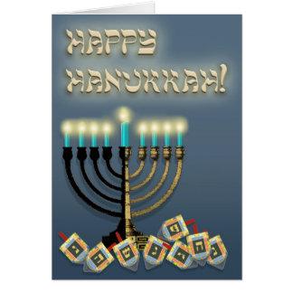 Cartão Hanukkah Menorah e Dreidels