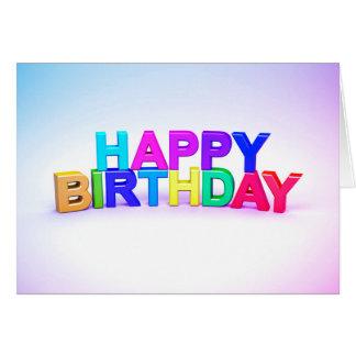 Cartão Happy Birthday 3D multicolor letra