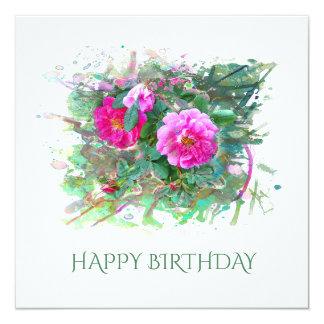 Cartão Happy Birthday, aniversário. Rosas, Watercolor