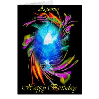 Cartão Happy Birthday Aquarius - homem de água
