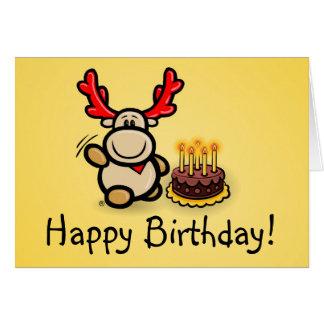 """Cartão """"Happy Birthday! """"com alce Elmondo"""