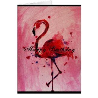 Cartão Happy Birthday - flamingo cartão/greeting card