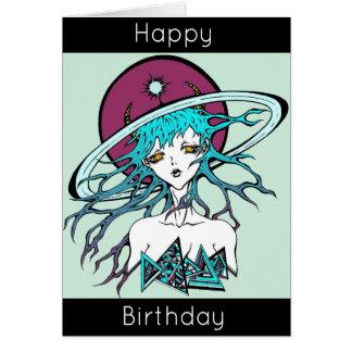 Cartão Happy Birthday manga space original