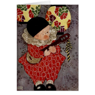 Cartão Harlequin da criança do vintage, músico que joga o