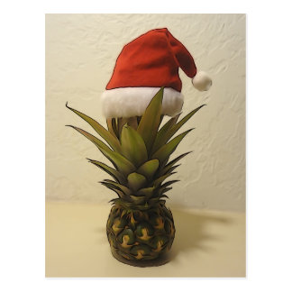 Cartão havaiano do chapéu do papai noel do abacaxi