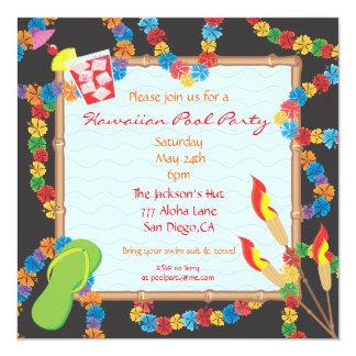 Cartão havaiano do convite da festa na piscina de