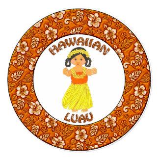 Cartão havaiano do convite da menina de Luau