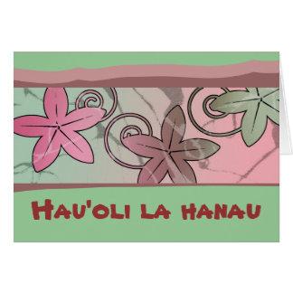 Cartão havaiano do feliz aniversario do rosa e do