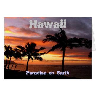 Cartão havaiano do por do sol