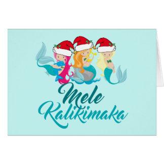 Cartão Hawaiian bonito do Natal da sereia de Mele