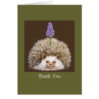 Cartão hedghog com o obrigado do jacinto de uva você