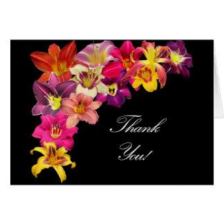 Cartão Hemerocallis no preto - obrigado