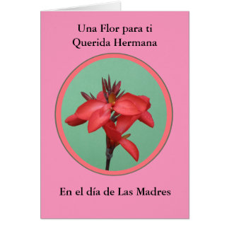 Cartão Hermana de Diâmetro de Las Madres Una Flor para MI