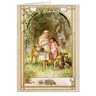 Cartão Hermann Vogel - vermelho da neve branco e do rosa