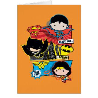 Cartão Heróis de Chibi prontos para a ação!