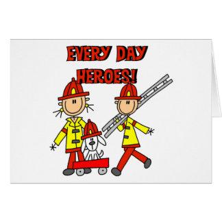 Cartão Heróis do sapador-bombeiro