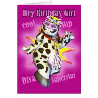 Cartão Hey vaca bonito da menina do aniversário que