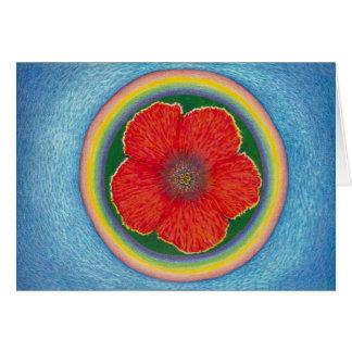 Cartão Hibiscus do arco-íris que flutua no oceano
