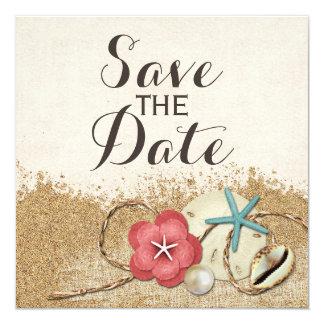 Cartão Hibiscus & Shell do Sandy Beach que Wedding