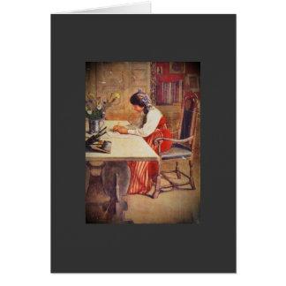 Cartão Hilda na mesa da arte