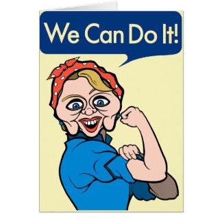 Cartão Hillary Clinton como Rosie o rebitador