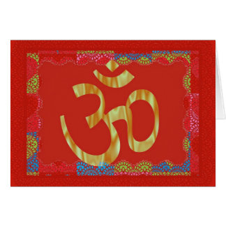 Cartão hindu vermelho do OM