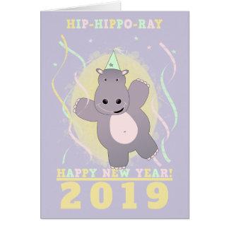 Cartão Hipopótamo anca do raio do hipopótamo do feliz ano