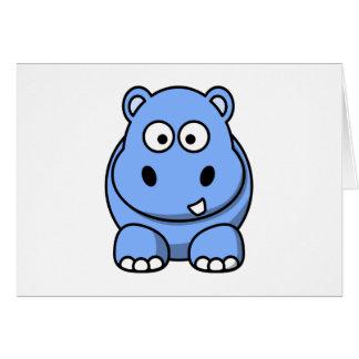 Cartão Hipopótamo azul bonito