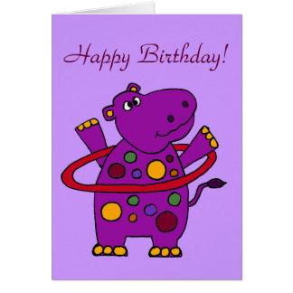 Cartão Hipopótamo roxo engraçado que joga a aro de Hula