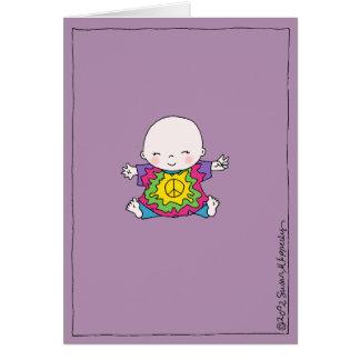 Cartão Hippie bonito do bebê da paz/chá de fraldas do