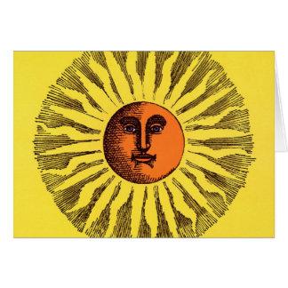 Cartão Hippie feliz de sorriso Sun do amarelo celestial