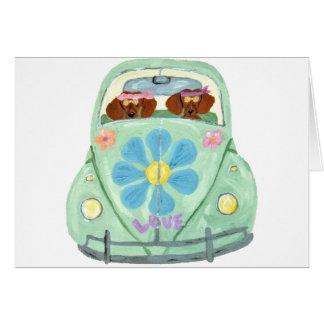 Cartão Hippys do Dachshund em seu móbil do amor da flor