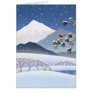 Cartão Hokusai - árvores do inverno