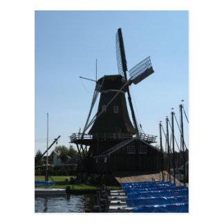 Cartão holandês da silhueta do moinho de vento