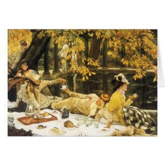 Cartão Holyday, o piquenique por James Tissot, arte do